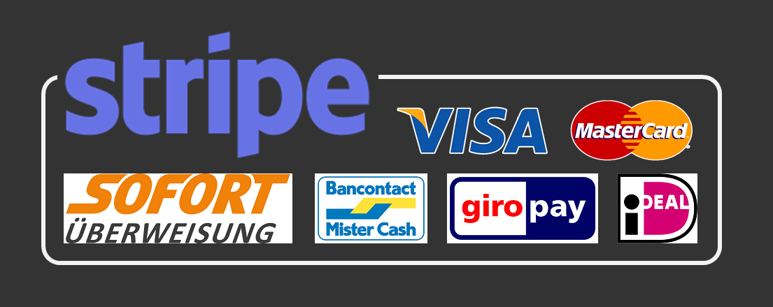 via Stripe: Visa, Mastercard, Sofort, Bancontact, Giropay, ideal, etc.